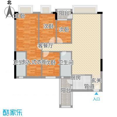 蓝色海岸134.40㎡B座二-二十六层01户型4室2厅2卫
