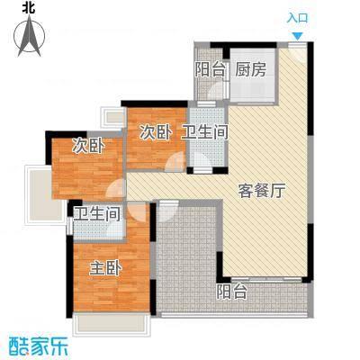 精英世家118.00㎡8、9栋02、03单位标准层户型3室2厅2卫1厨