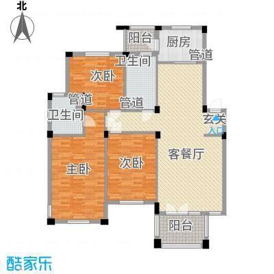 绿城桂花园136.00㎡户型3室2厅1卫1厨