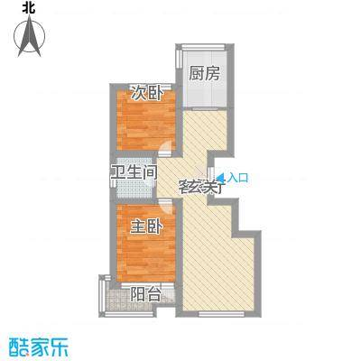 香堤水岸6.00㎡户型2室1厅1卫1厨