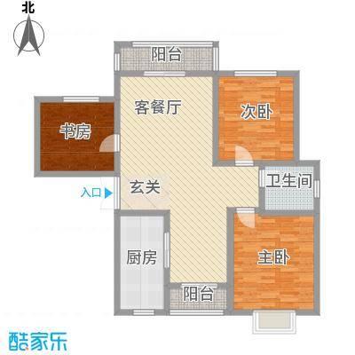 龙潭花园6户型3室2厅2卫1厨