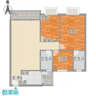 岭岚花园C型户型3室2厅2卫1厨