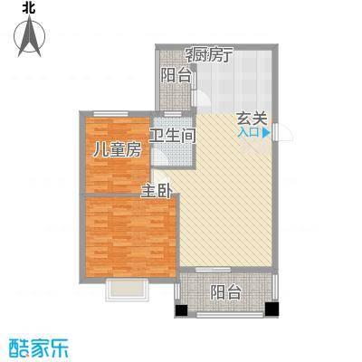 顺宝花园76.57㎡B区2座E型户型2室2厅2卫1厨