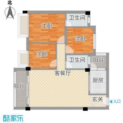 大福名城88.20㎡户型3室2厅2卫1厨