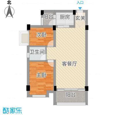 大福名城68.85㎡户型2室2厅1卫1厨