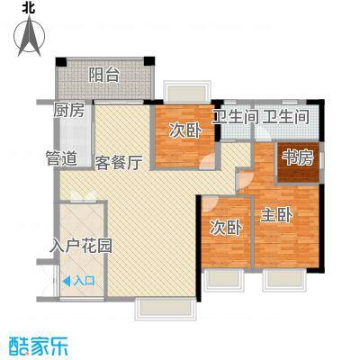 东方威尼斯136.00㎡3栋2单元0户型3室2厅2卫1厨