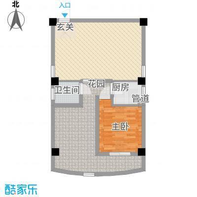锦辉国际花园82.00㎡1-4#楼标准层04单元D户型1室1厅1卫1厨