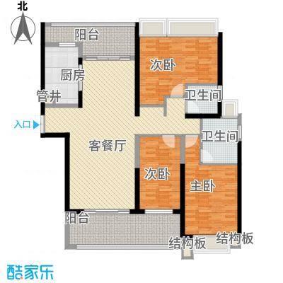 格力广场3期将军山164.58㎡20栋01户型3室2厅2卫1厨