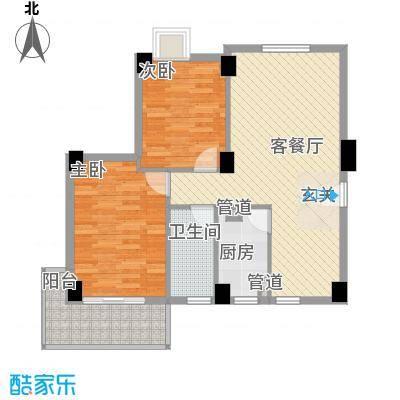 未来海岸系天籁85.00㎡E户型2室2厅1卫