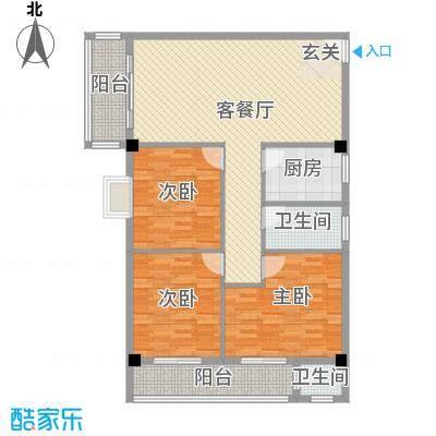 连平花园4.00㎡户型3室2厅2卫1厨