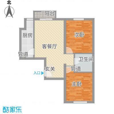 名仕嘉景苑户型2室1厅1卫1厨
