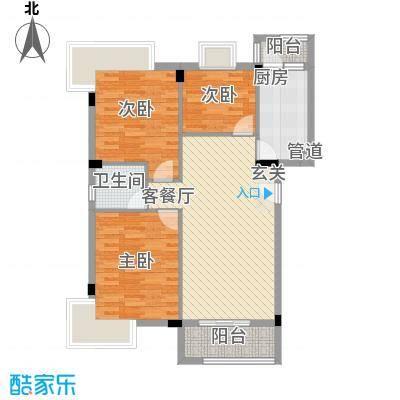 怡雅名苑78.00㎡AB型单位02单元户型2室1厅1卫