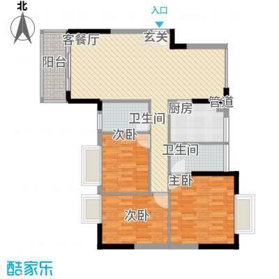 城市主场114.80㎡2栋2单元01单位户型3室2厅1卫