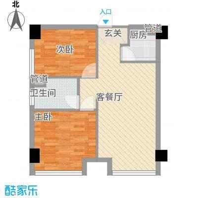 枫丹琴园户型2室1厅1卫1厨