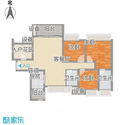 富通天邑湾127.43㎡6-9座标准层C3户型3室2厅2卫