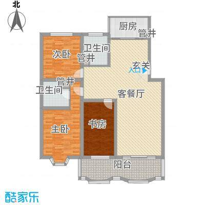 怡江春色131.00㎡P户型3室2厅2卫1厨