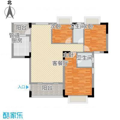 大城小院116.00㎡1栋1/2单元平面图户型3室2厅2卫1厨