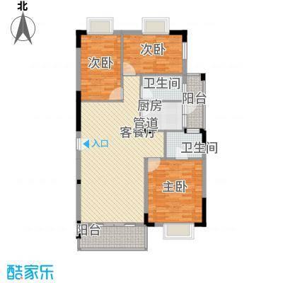 大城小院116.00㎡2栋1/2/3单元平面图户型3室2厅2卫1厨