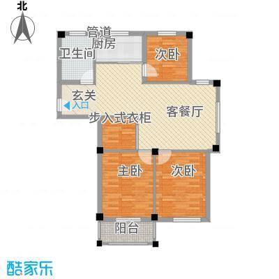 维科半山佳园7.43㎡E1户型3室2厅1卫