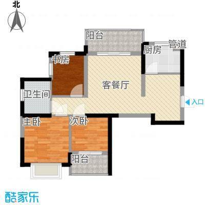 银亿海尚广场88.00㎡A2户型3室2厅1卫1厨
