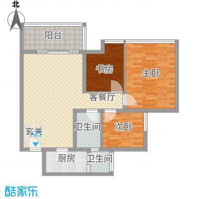 珍珠湾花园28户型3室2厅2卫1厨
