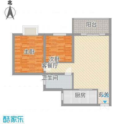 泉舜星园美第4户型2室2厅1卫1厨