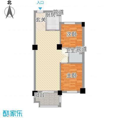 香槟水郡78.00㎡2#3-16层B户型2室1厅1卫1厨