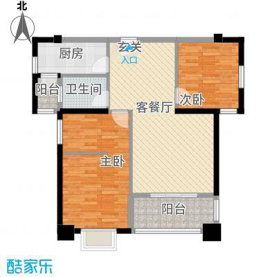 莲花三村社区户型2室2厅2卫1厨