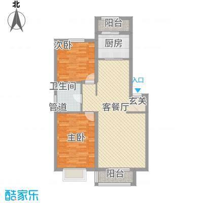德华花苑户型2室1厅1卫1厨
