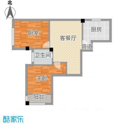 中河名庭84.27㎡户型2室2厅1卫1厨