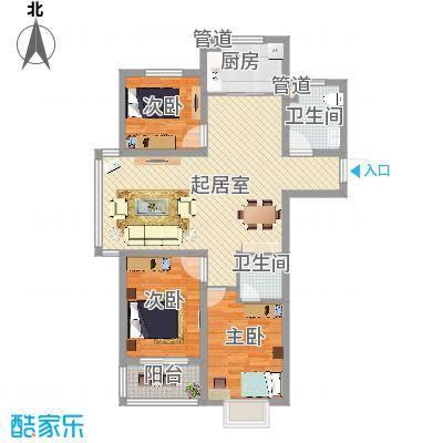 康城世纪122.60㎡3-2-2-12296户型3室2厅2卫1厨-副本