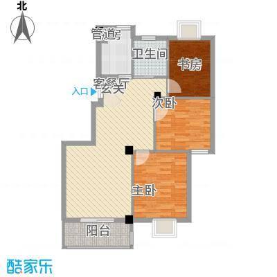 万景梅庭B[]户型2室2厅1卫1厨
