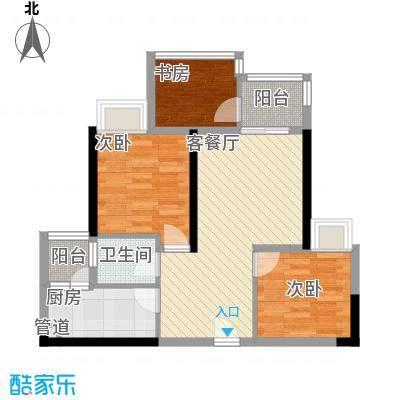 环球时代广场67.20㎡一期3、4号楼A3B3C3标准层户型3室2厅1卫1厨