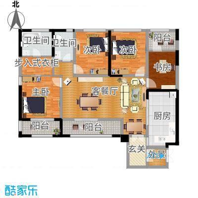 泰悦湾153.00㎡B型双卫户型4室1厅2卫1厨-副本
