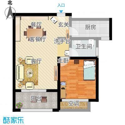 中国铁建・原香漫谷65.00㎡A3户型1室2厅1卫-副本