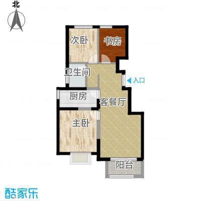 旭辉澜郡90.80㎡公园电梯洋房A标准层户型3室2厅1卫-副本