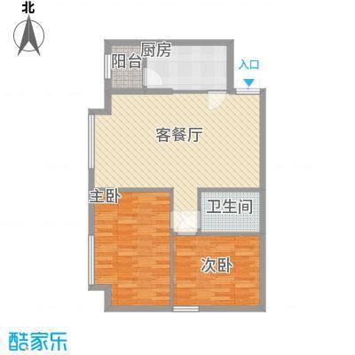 百合世纪城6.00㎡B4户型2室2厅1卫1厨