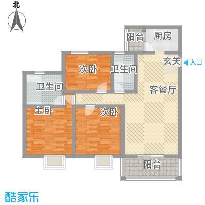 阳禾洪福秀景15.00㎡G-H1户型3室2厅2卫1厨
