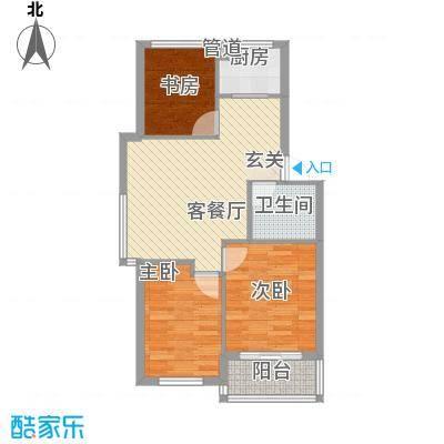 黄府家园78.00㎡户型3室2厅1卫1厨