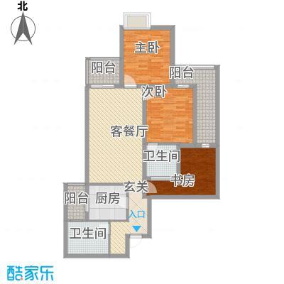 轻港佳苑118.60㎡E户型3室2厅1卫1厨