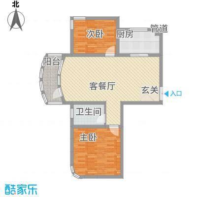 君豪・绿园18.64㎡A-7户型2室2厅1卫1厨