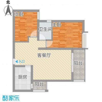 轻港佳苑62.65㎡I户型2室2厅1卫1厨