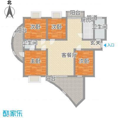 奥都花城浪漫风暴高层B户型4室2厅2卫