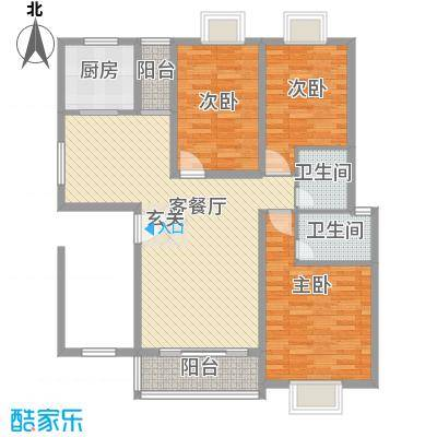 欧亚西城国际112.10㎡C2户型3室2厅2卫1厨