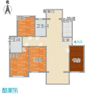新洲城市花园15.20㎡10号楼J户型4室2厅2卫1厨
