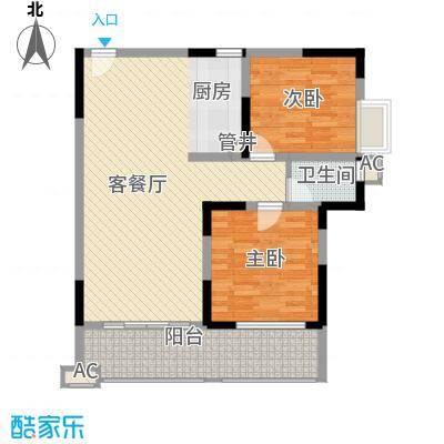 袭汇旺角名门1.78㎡2#楼04户型2室2厅1卫