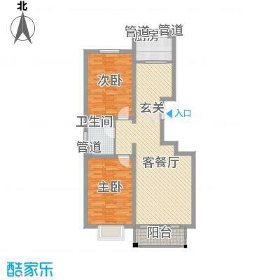 万博华景11.50㎡3-A户型2室2厅1卫1厨