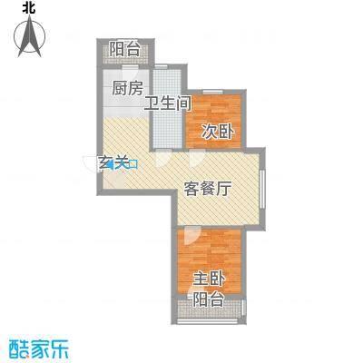 美林香颂67.68㎡1号楼D户型2室2厅1卫1厨