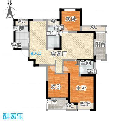 聚湖雅苑128.47㎡一期4-5#楼3-33层D户型3室2厅2卫1厨