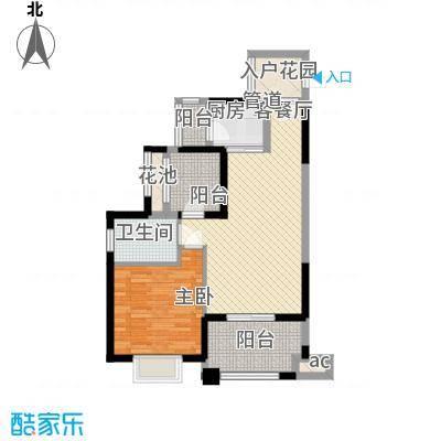 龙光天悦龙庭75.45㎡F2户型1室2厅1卫1厨